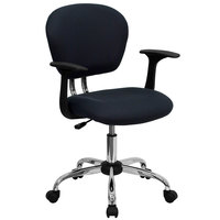 Flash Furniture H-2376-F-GY-ARMS-GG Mid-Back Gray Mesh Office Chair with Nylon Arms and Chrome Base