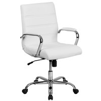 Flash Furniture GO-2286M-WH-GG Mid-Back White Leather Swivel Office Chair with Chrome Base and Arms