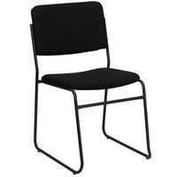 Flash Furniture XU-8700-BLK-B-30-GG Hercules Series High Density Black Fabric Stacking Chair with Black Sled Base