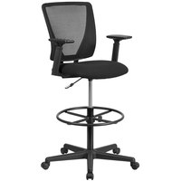 Flash Furniture GO-2100-A-GG Mid-Back Black Mesh Drafting Chair with Adjustable Arms and Foot Ring