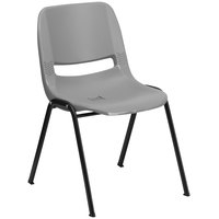 Flash Furniture RUT-EO1-GY-GG Hercules Series Gray Ergonomic Shell Stack Chair