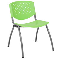 Flash Furniture RUT-F01A-GN-GG Hercules Series Green Plastic Stack Chair with Titanium Frame