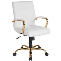 Flash Furniture GO-2286M-WH-GLD-GG Mid-Back White Leather Swivel Office Chair with Gold Base and Arms