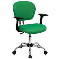 Flash Furniture H-2376-F-BRGRN-ARMS-GG Mid-Back Bright Green Mesh Office Chair with Nylon Arms and Chrome Base