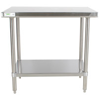 "Regency 30"" x 36"" 16-Gauge 304 Stainless Steel Commercial Work Table with Undershelf"