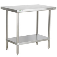 Regency 30 inch x 36 inch 16-Gauge 304 Stainless Steel Commercial Work Table with Undershelf