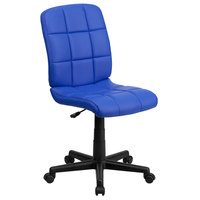 Flash Furniture GO-1691-1-BLUE-GG Mid-Back Blue Quilted Vinyl Office Chair / Task Chair