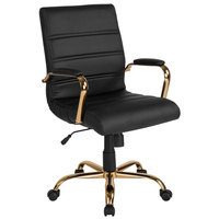 Flash Furniture GO-2286M-BK-GLD-GG Mid-Back Black Leather Swivel Office Chair with Gold Base and Arms