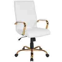Flash Furniture GO-2286H-WH-GLD-GG High-Back White Leather Swivel Office Chair with Gold Base and Arms