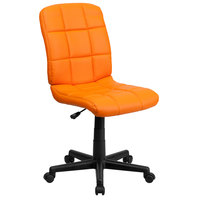 Flash Furniture GO-1691-1-ORG-GG Mid-Back Orange Quilted Vinyl Office Chair / Task Chair