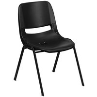 Flash Furniture RUT-EO1-BK-GG Hercules Series Black Ergonomic Shell Stack Chair