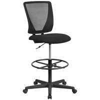 Flash Furniture GO-2100-GG Mid-Back Black Mesh Drafting Chair with Foot Ring