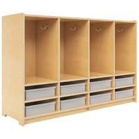 Whitney Brothers WB3404 48 inch x 14 inch x 34 1/2 inch Eight Section Toddler Coat Locker with Bins