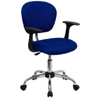 Flash Furniture H-2376-F-BLUE-ARMS-GG Mid-Back Blue Mesh Office Chair with Nylon Arms and Chrome Base