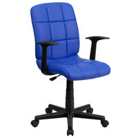 Flash Furniture GO-1691-1-BLUE-A-GG Mid-Back Blue Quilted Vinyl Office Chair / Task Chair with Arms