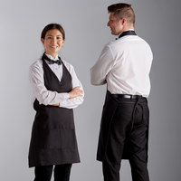 Choice Black Adjustable Poly-Cotton Tuxedo Apron with 2 Pockets - 32 inchL x 29 inchW