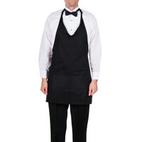 Choice Black Tuxedo Full Length Bib Apron with Pockets - 32 inchL x 27 1/4 inchW