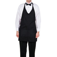 Choice 32 inch x 29 inch Black Tuxedo Full Length Bib Apron with Pockets