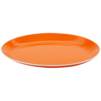 GET OP-1080-TG Settlement Oasis 10 inch x 7 3/4 inch Tangerine Orange Melamine Oval Coupe Platter with White Trim - 12/Case