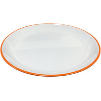 GET BF-710-TG Settlement Oasis 7 inch White Melamine Round Coupe Bread / Side Dish Plate with Tangerine Orange Trim - 48/Case