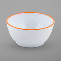 GET B-44-TG Settlement Oasis 10 oz. White Melamine Small Side Salad / Soup Bowl with Tangerine Orange Trim - 24/Case