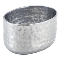 American Metalcraft ASPS 6 oz. Silver Oval Hammered Aluminum Sugar Packet / Cube Holder