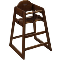 GET HC-101C-KD Stackable Hardwood High Chair with Chestnut Finish - Unassembled