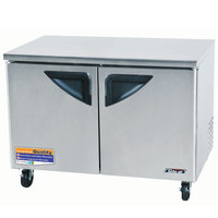 Turbo Air TUR-48SD 48 inch Super Deluxe Two Door Undercounter Refrigerator - 12 Cu. Ft.