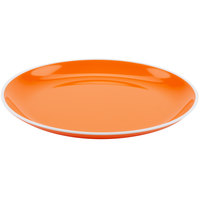 GET BF-950-TG Settlement Oasis 9 1/2 inch Tangerine Orange Melamine Round Coupe Dinner Plate with White Trim - 24/Case