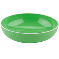 GET B-46-AP Settlement Oasis 1.7 Qt. Apple Green Melamine Large Serving Bowl with White Trim - 12/Case