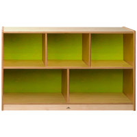 Whitney Brothers CH1330G Whitney Plus Heavy-Duty Wood Children's Cabinet with Electric Lime Back Panels - 48 inch x 14 inch x 30 inch