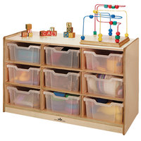 Whitney Brothers WB0909T 9-Tray Children's Wood Storage Cabinet - 40 1/2 inch x 18 inch x 27 inch
