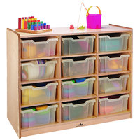 Whitney Brothers WB0912T 12-Tray Children's Wood Storage Cabinet - 40 1/2 inch x 18 inch x 34 1/2 inch