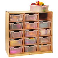 Whitney Brothers WB0915T 15-Tray Children's Wood Storage Cabinet - 40 1/2 inch x 18 inch x 42 inch