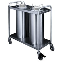 APW Wyott Lowerator TL2-9A Trendline Mobile Adjustable Unheated Two Tube Dish Dispenser for 3 1/2 inch to 9 1/8 inch Dishes