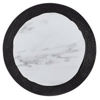 American Metalcraft MWR14 14 inch Round White Marble / Black Slate Two-Tone Melamine Serving Platter