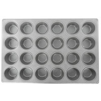 Chicago Metallic 45525 24 Cup 3.8 oz. Glazed Aluminized Steel Muffin / Cupcake Pan - 14 1/16 inch x 20 11/16 inch