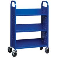 Hirsh Industries 21790 30 3/4 inch x 13 inch x 46 1/4 inch Blue 3-Shelf Book Cart