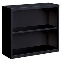 Hirsh 21987 Black 2-Shelf Welded Steel Bookcase - 34 1/2 inch x 13 inch x 30 inch