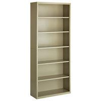 Hirsh 21998 Putty 6-Shelf Welded Steel Bookcase - 34 1/2 inch x 13 inch x 82 inch