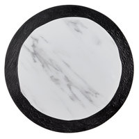 American Metalcraft MWR16 16 inch Round White Marble / Black Slate Two-Tone Melamine Serving Platter