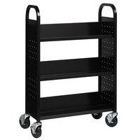 Hirsh Industries 21789 30 3/4 inch x 13 inch x 46 1/4 inch Black 3-Shelf Book Cart