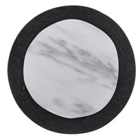 American Metalcraft MWR12 12 inch Round White Marble / Black Slate Two-Tone Melamine Serving Platter