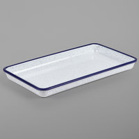 American Metalcraft MRSS13 Endurance 12 3/4 inch x 7 inch Rectangular Blue Speckled Melamine Serving Tray
