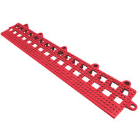 Cactus Mat 2554-RB Dri-Dek 2 inch x 12 inch Red Vinyl Interlocking Beveled Edge Drainage Floor Tile - 9/16 inch Thick