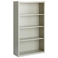 Hirsh 21994 Light Gray 4-Shelf Welded Steel Bookcase - 34 1/2 inch x 13 inch x 60 inch