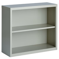 Hirsh 21988 Light Gray 2-Shelf Welded Steel Bookcase - 34 1/2 inch x 13 inch x 30 inch