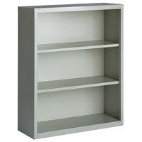Hirsh 21991 Light Gray 3-Shelf Welded Steel Bookcase - 34 1/2 inch x 13 inch x 42 inch