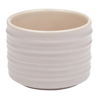 American Metalcraft PCT4 4 oz. Round Taupe Porcelain Sauce Cup with Ribbed Sides