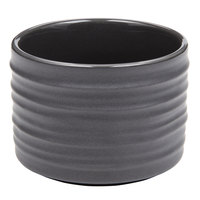 American Metalcraft PCG4 4 oz. Round Gray Porcelain Sauce Cup with Ribbed Sides